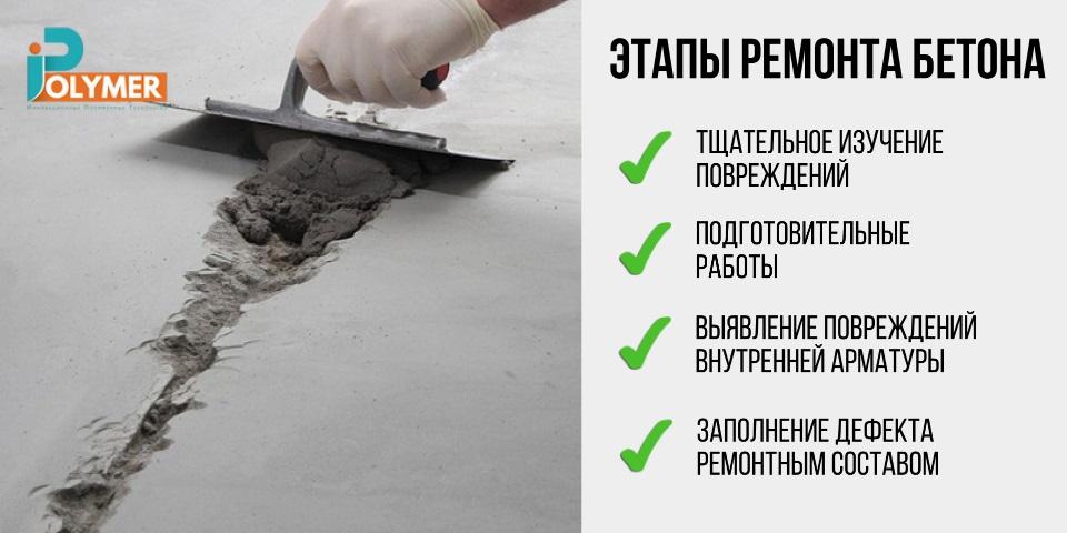 Этапы работ по ремонту бетона
